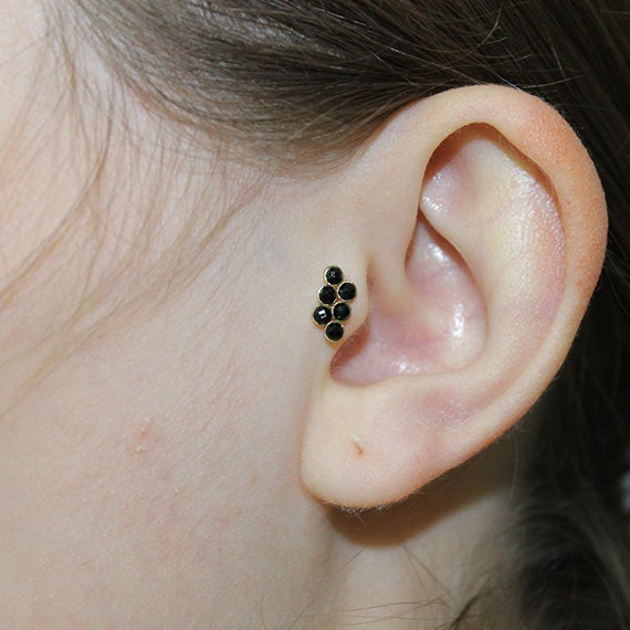 Tragus Earring 2mm Onyx - Gold Nose Stud - Helix Earring - Tragus Stud - Cartilage Earring - Nose Hoop - Daith Piercing - Nose Ring 16g