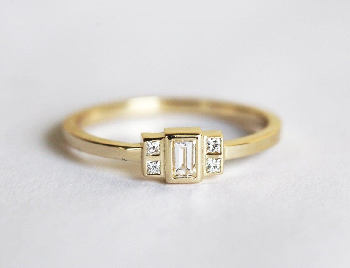 baguette ring baguette engagement ring gold baguette