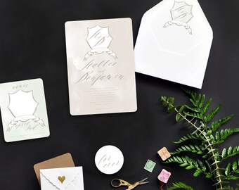 Bespoke Monogram Custom Wedding Invitations Sample