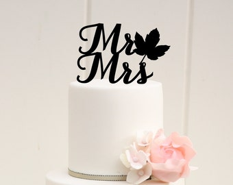 Fall Leaf Mr and Mrs Wedding Cake Topper or Bridal Shower Cake Topper