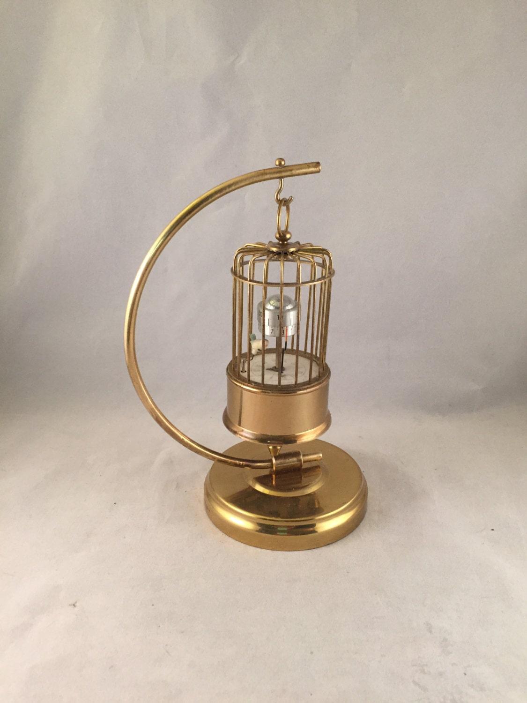 Vintage Brass J Kaiser Bird Cage Clock With Stand