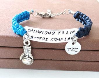 Champions Train Quitters Complain Boxing Glove Martial Arts Bracelet You Choose Your Cord Color(s)