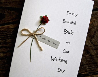 Wedding Day Card Single Red Rose Bride Wife to be Wedding Day Card Handsome Groom Husband Rustic Tipi Country Simple Size A6: 15x10.5cm