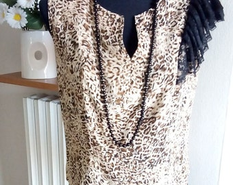 Blouse Women's Animal Print with Lace Volants Hand Made