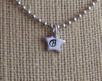 Tiny Star Initial Necklace - Hand Stamped, Personalized, Gift