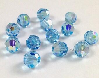 24pcs 6mm AQUAMARINE AB 5000 Swarovski Crystal Faceted Round Beads