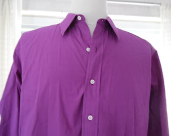 L XL Polo Ralph Lauren Men's Dress Shirt Unusual Bright Fuscia Purple Color 100% Cotton 17 / 35 Shirt Big Hammered Faux Pearl Buttons Nice