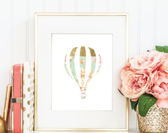 Printable Art Print, Hot Air Balloon, Cottage Chic, Floral, Gold, Feminine, Chic, Instant Download, Size 8x10 #h016  347