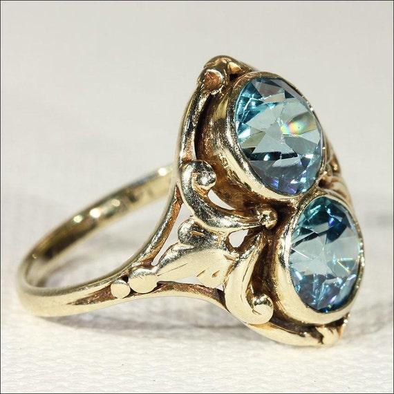 antique nouveau blue zircon ring in 14k gold european c