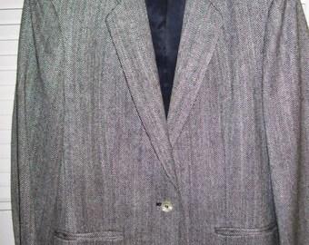 Vintage Herringbone Tweed Jacket/blazer  Womens Wonderful Petite 8 Great Career Find