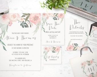 floral wedding invitation suite spring floral watercolor wedding invitation set printable wedding invites