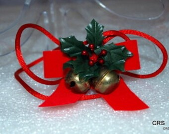Christmas package accessory, holly, bells, ribbon, vintage