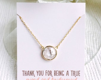 Personalized Bridesmaid Gift, Bridesmaid Necklace, Maid of Honor Gift, Pendant Necklace,Crystal Necklace, Bridesmaid Gift, Wedding, N251-GCL