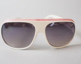 70s Sunglasses / Made in Italy / White Retro Sunglasses