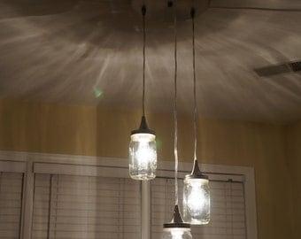 Hanging Mason Jar Pendant Lighting Fixture w/ Edison Bulbs