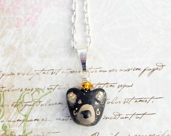 Black Bear Necklace , Nature Jewelry , Handmade Mini Bear Pendant , Black Bear Charm