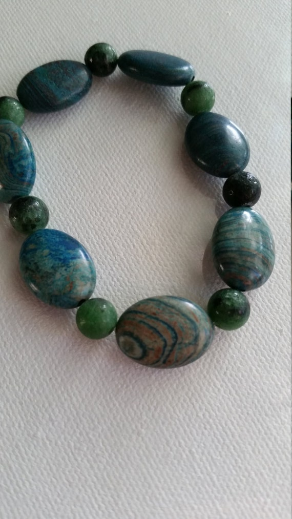 Turquoise Crazy Lace Agate and Green Zoisite Men's by ...