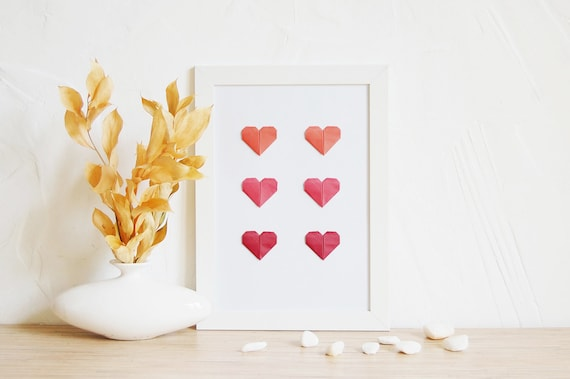 Red Love Wall Decor : Wall decor love poster origami hearts at home red