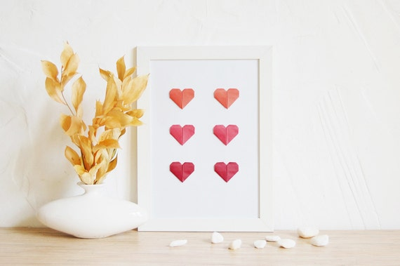 Wall Art Love Hearts : Wall decor love poster origami hearts at home red