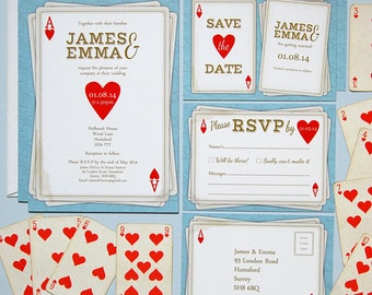 SAMPLE - Ace Of Hearts Vintage Playing Card Style Wedding Invitation, Save The Date, RSVP Stationery Suite / Set Samples
