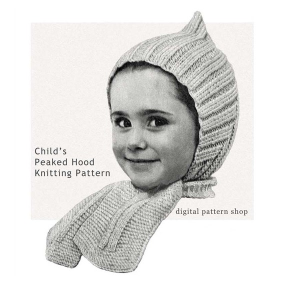 Childrens Hood Knitting Pattern : Childs Pixie Hat Knitting Pattern Vintage Knit Peaked Hood