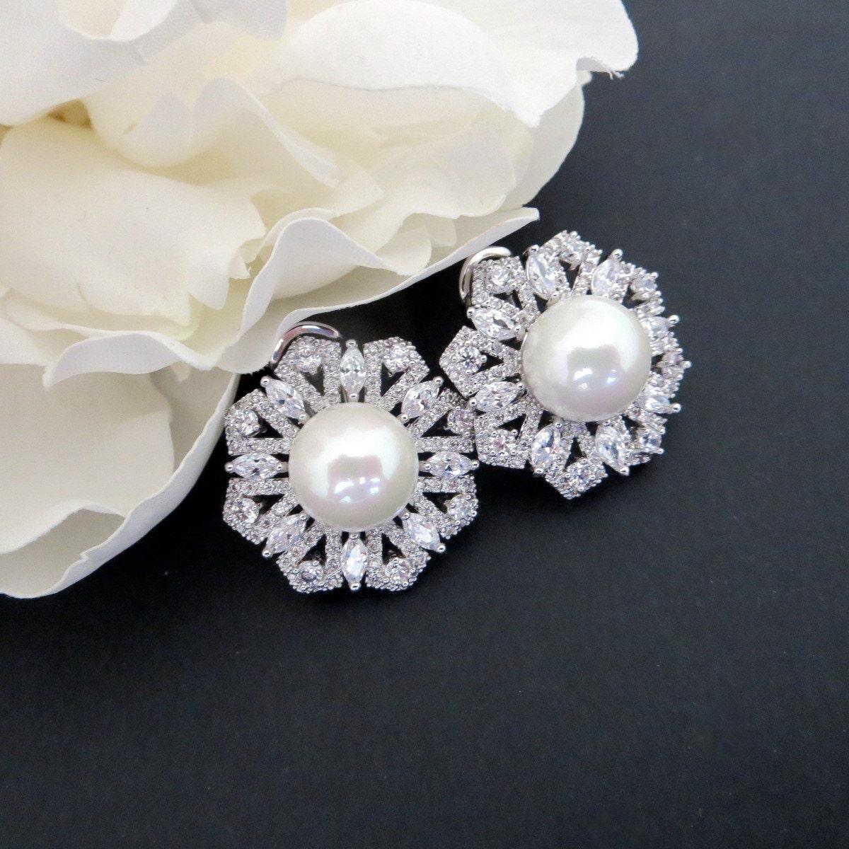 pearl stud earrings cz wedding earrings bridal earrings