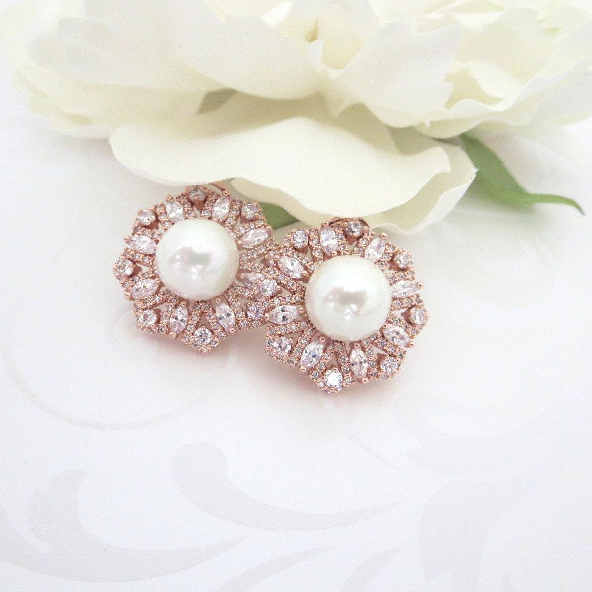 gold stud earrings bridal earrings gold wedding