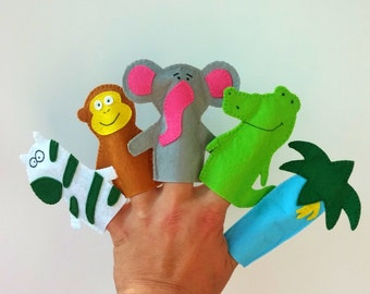 African Safari Finger Puppets Set 5-felt animals finger puppets-Safari finger puppet-toy finger puppets-Jungle finger Puppets-felt puppets
