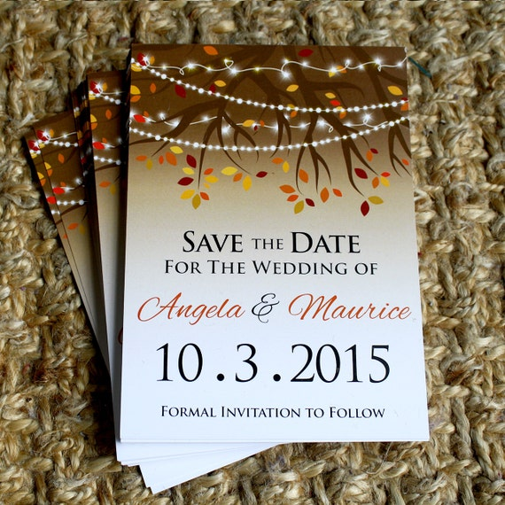Fall Color String Lights : Rustic Fall Twinkle, String Lights Wedding Save The Date Personalized Printed Postcard Flat ...