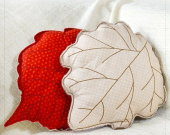 Leaf shaped pillows | Hazel leaf cushion and Silver Poplar leaf cushion