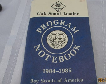 antique vintage 1984-1985 cub scout leader program notebook