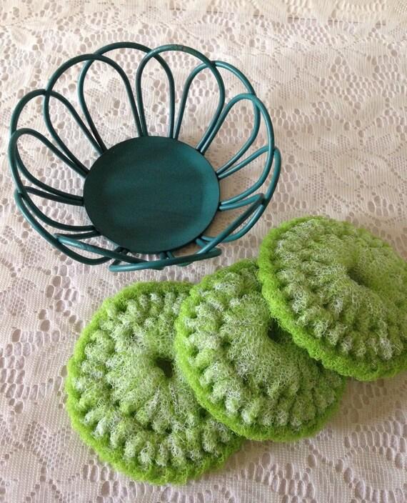 Nylon pot scrubber gift set lime green by
