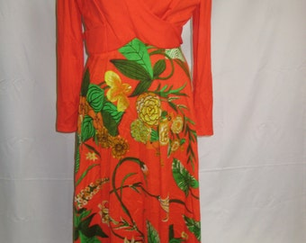 VINTAGE Tiki Party faux wrap dress
