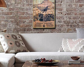 Vintage Grand Canyon National Park Poster Wall Art on Solid Wood Boards - Travel Poster, Outdoors, WPA