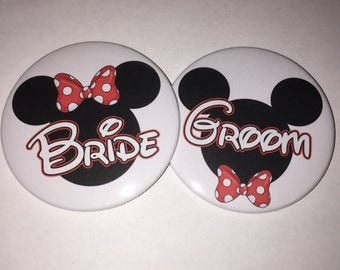 Disney Wedding Bride Groom Mickey and Minnie Button Set