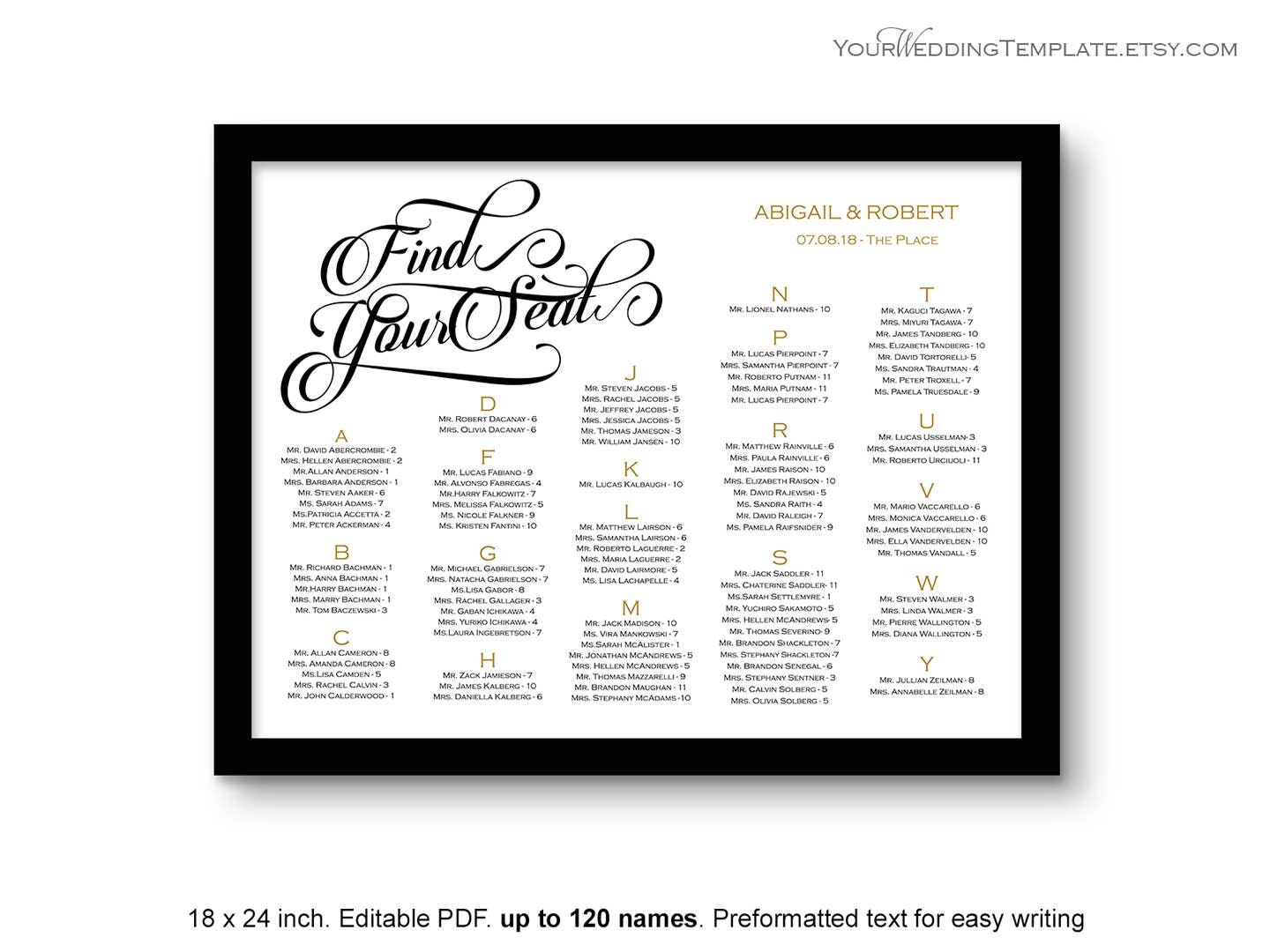 Editable seating chart wedding template by for Etsy shop policies template