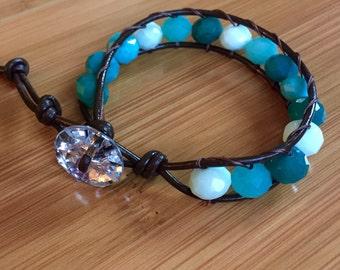 Colors of the Sea Leather Wrap Bracelet