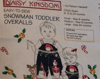Christmas Overall Fabric Panel/ Daisy Kingdom Easy to Sew Snowman Overalls/Sandi Gore-Evans/ Toddler Size 6-12-24 Month/ Baby, Boys, Girls