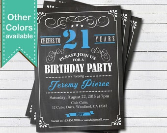 21st Birthday chalkboard invitation. Cheers to 21 year. Blue, black and white chalkboard. Any age. Birthday drinks printable invite. AB135