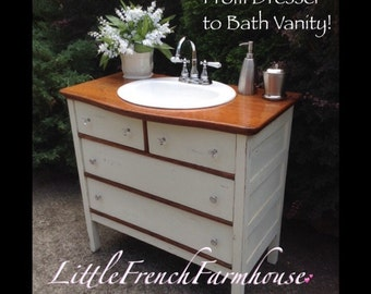 COMPLETE CONVERSION 595 & Up, Dresser to Bath Vanity Cabinet INCLUDES Sink, Faucet, Drawer Modifications! Many Styles /Sizes inc Dual Sinks!