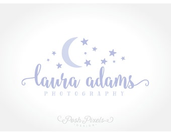 Logo Design (Premade) Moon Logo, Star Logo, Moon and Stars Logo, Photography Logo, Boutique logo, Whimsical logo, Cute logo