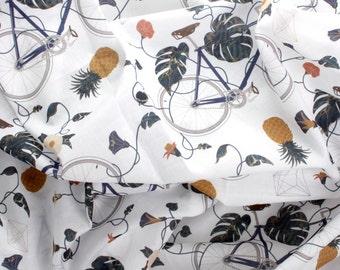Fabric / Pattern / Patterned fabric/ Bicycles fabric / Pinneaple fabric / Cotton fabric / 1/2 Yard
