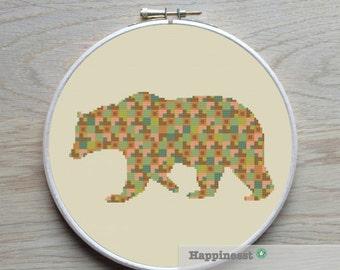 modern cross stitch pattern bear silhouette, bear, PDF,  ** instant download**