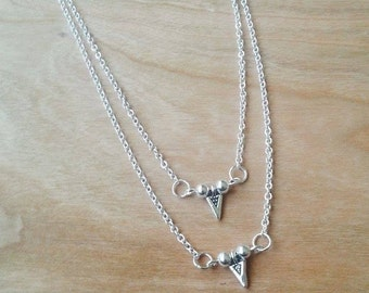 Double layer arrow necklace - adjustable - chain - silver - triangle - charm