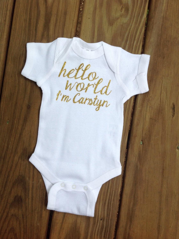 Go Hello World: Hello World Onesie Birth Announcement Going Home OutfitBaby