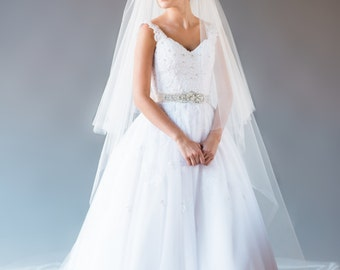 Cathedral Veil, Veil with Blusher, Traditional Wedding Veil with Volume, Long Veil, Bridal Veil, Bridal Veil Formal Veil, STYLE: ELIZABETH