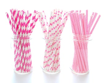 Hot Pink Party Straws, Drink Stirrers, Drinking Straws, Hot Pink Paper Straws, 75 Pack - Hot Pink Striped, Chevron & Polka Dot Straws