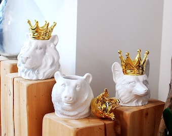 Crowned King of the Wild Gilded Canisters, Lion~Bear~Fox