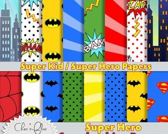 SUPERHERO SCRAPBOOK PAPER, Superhero Paper, Party Decor, Superfriends, Party Paper, Superhero Birthday,   Instant Download