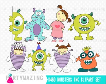 Monsters Inc Clipart, Monsters Sully, Mike, Boo Clip Art Graphic Set, Instant Download -D460